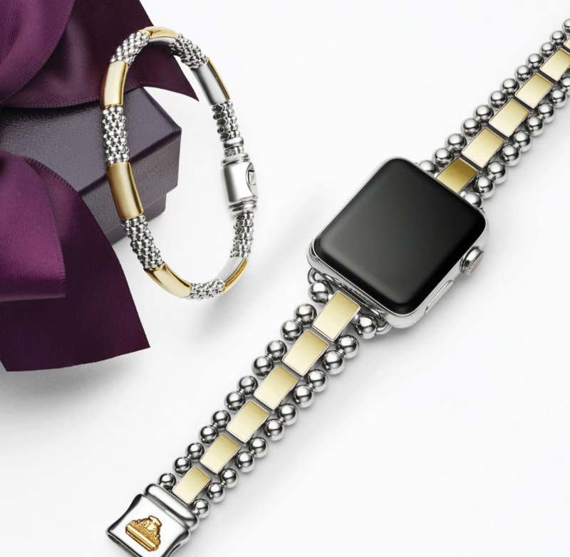 Two bracelets, one for your Apple Watch, both crafted from 18K gold and stainless steel signature links.
