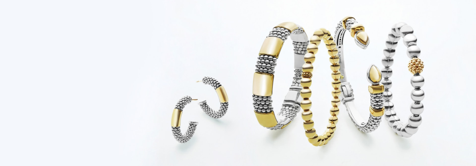 bracelets with 18K gold and sterling silver Caviar beaded accents