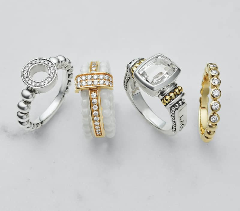 Color Switch stacking ring with our other best-sellers in Caviar Spark, Caviar Gemstone and Caviar Gold Diamond stacking ring.