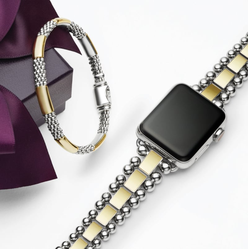 LAGOS Purple Gift Box with High Bar Caviar Bracelet in gold and silver and Smart Caviar 18K Gold Watch Bracelet with silver Caviar beading.