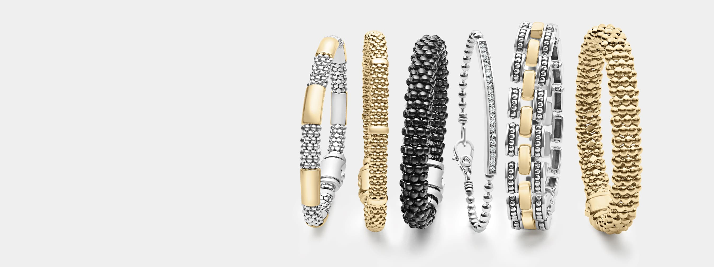 Necklaces, bracelets and rings featuring Caviar beading in fold, silver and blue or white ceramic style.