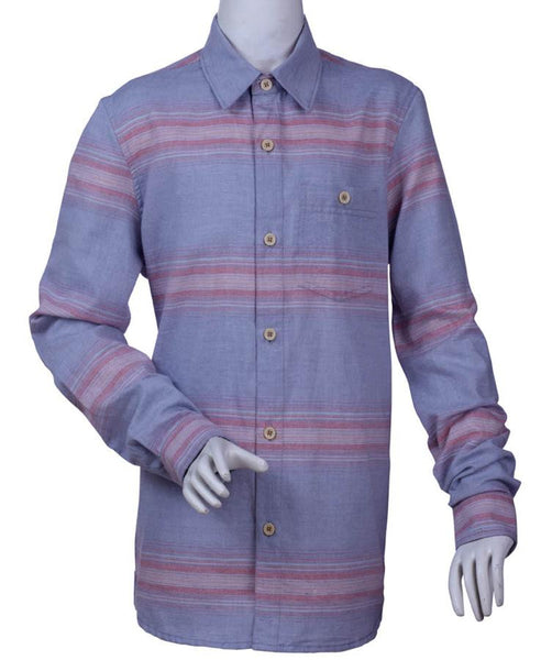 Mens 100 % Cotton Yarn Dye  Long Sleeve Stripe Shirt