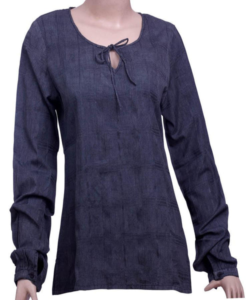 Womens 100% Cotton Long sleeve Woven top
