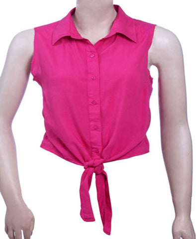 Ladies 100% Rayon Sleeveless collared Shirt top