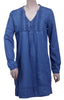 Womens 100% Cotton Denim Dress in Long Sleeves