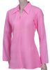 Womens Long Sleeve collared top in Cotton Cambric (Lawn)