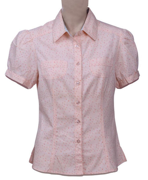 Womens  100% Cotton Poplin printed short sleeve top
