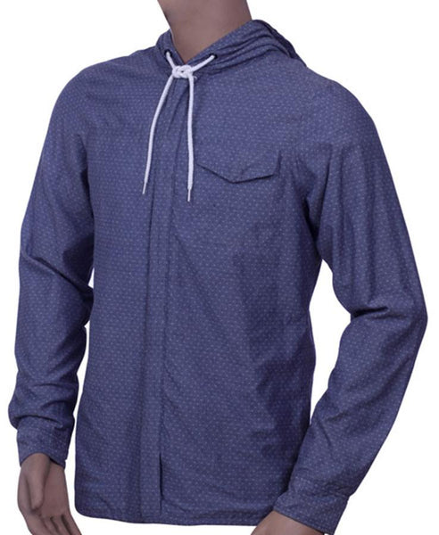 Mens Long Sleeve Zippered Shirt Jacket  with hood