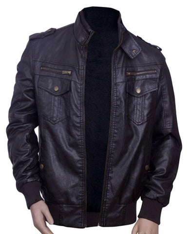 Mens Long Sleeve Leather Jacket in Long Sleeves