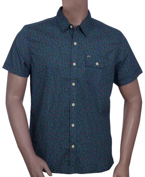 Mens Short Sleeve Shirt in 100% Cotton Printed