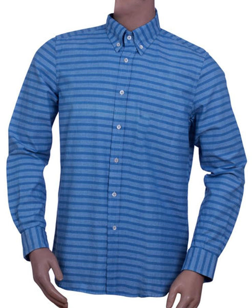 Mens 100% Cotton Yarn Dye Horizontal Stripe Long Sleeve Shirt