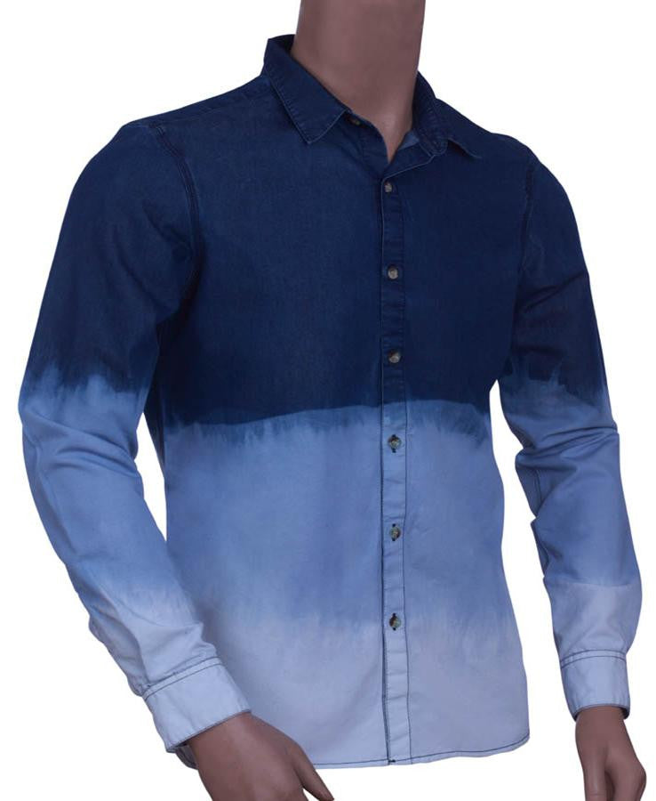 315d9cacada Mens 100% Cotton Poplin Long Sleeve shirt with tie and Die effect ...