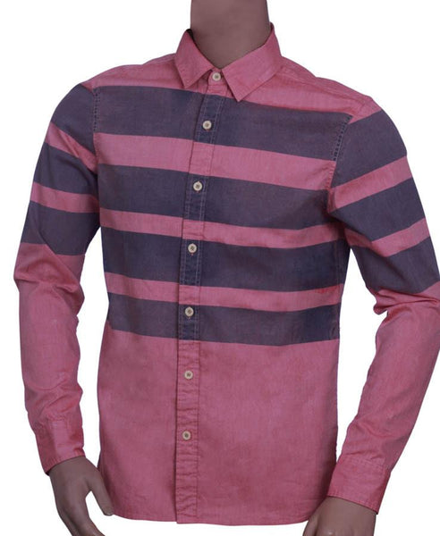 Mens 100% Cotton  Long sleeve shirt with Panel Stripe