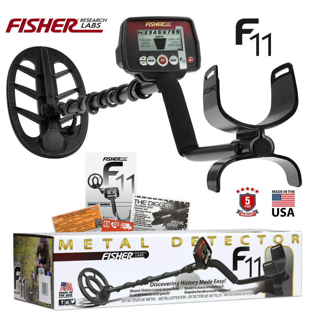 "Fisher Metal Detectors Fisher F11 Metal Detector w/ 11"" DD Waterproof Search Coil and 5 Year Warranty F11-11DD"