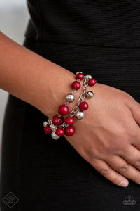 Party Posh - Red Paparazzi Bracelet - SavvyChicksJewelry