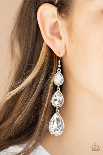 Metro Momentum - White Earrings - SavvyChicksJewelry