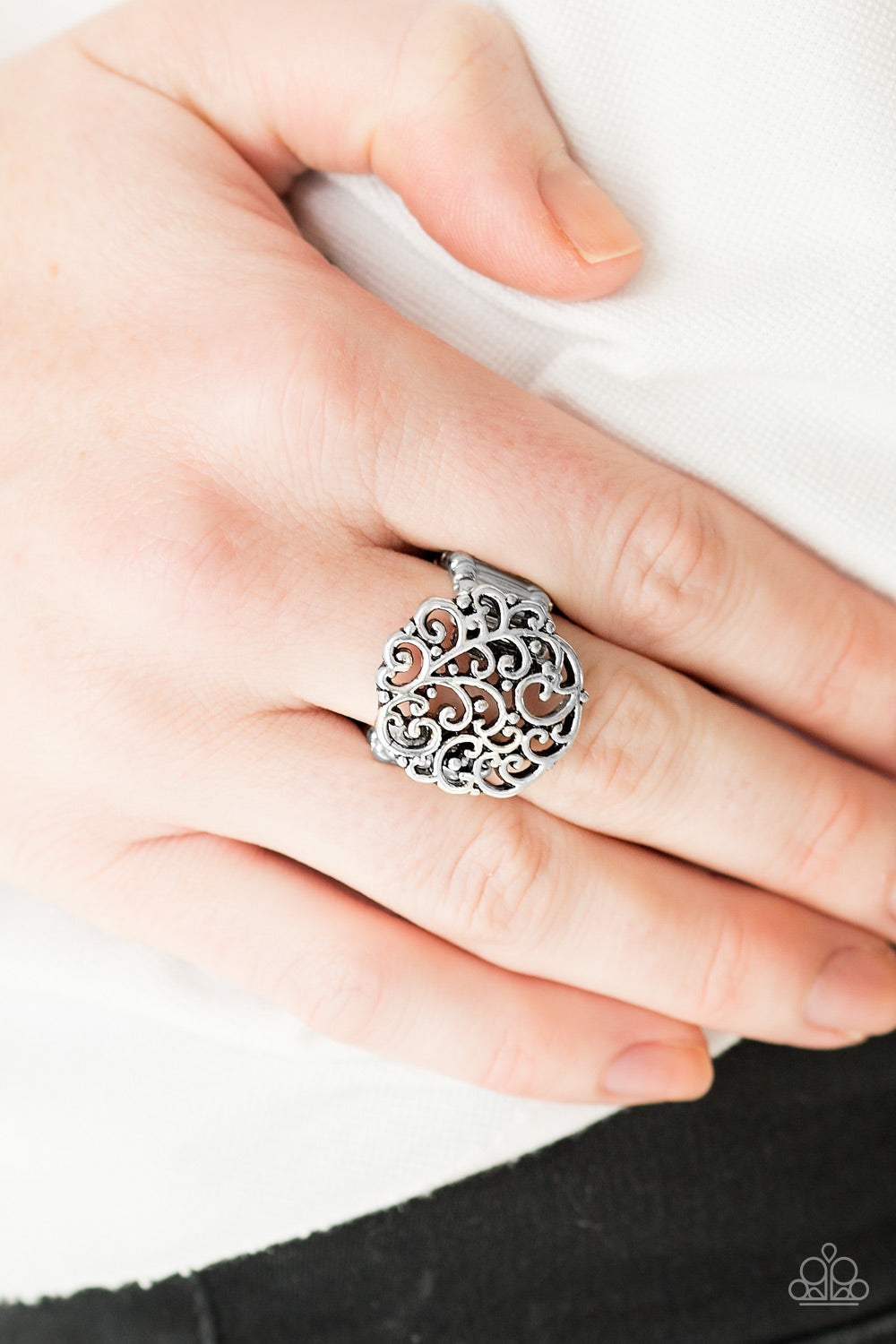 Thrills and Frills - Silver Paparazzi Ring - SavvyChicksJewelry