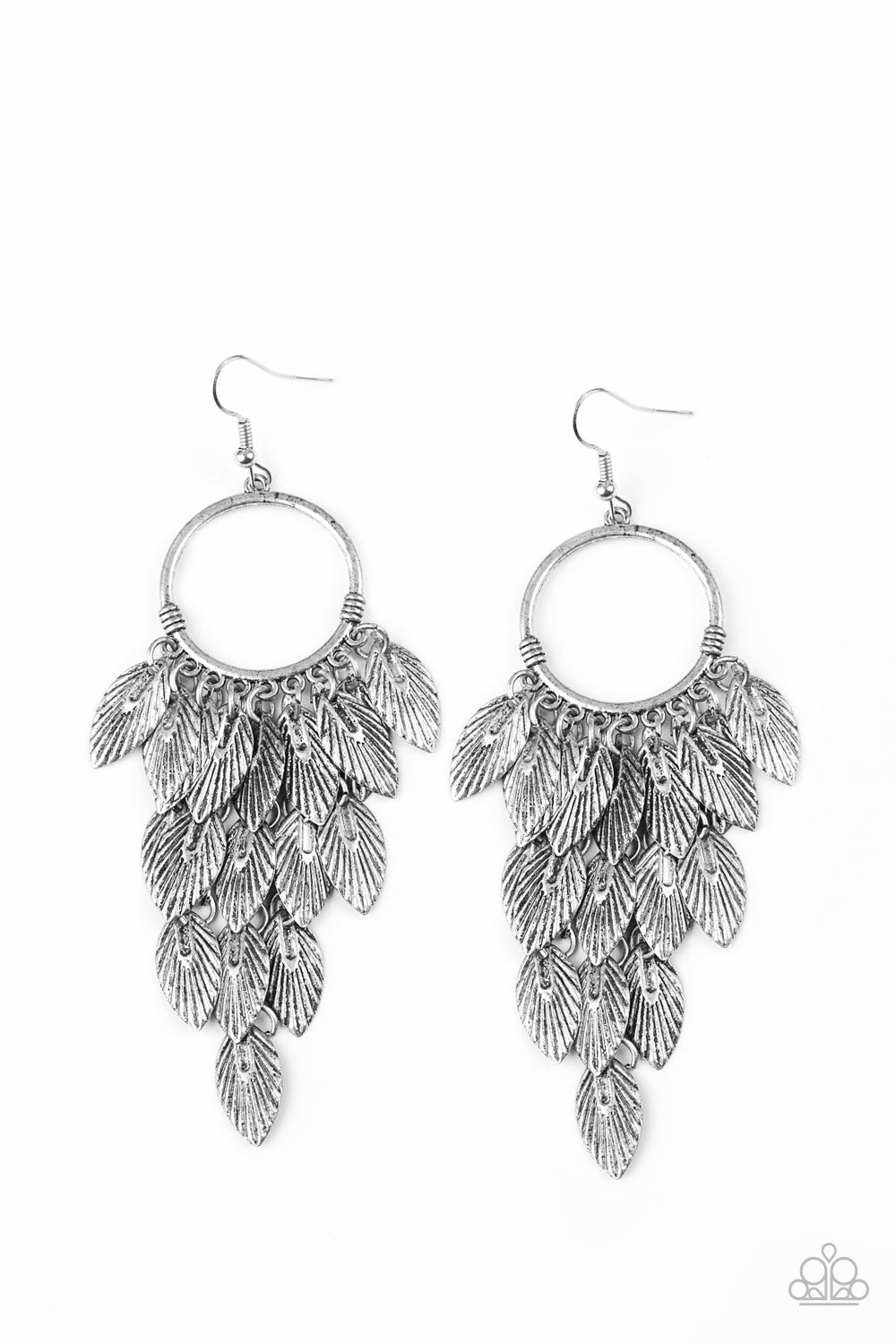 Feather Frenzy - Silver Paparazzi Earrings - SavvyChicksJewelry