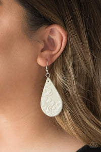 Feelin' Groovy - White Leather Earrings - SavvyChicksJewelry