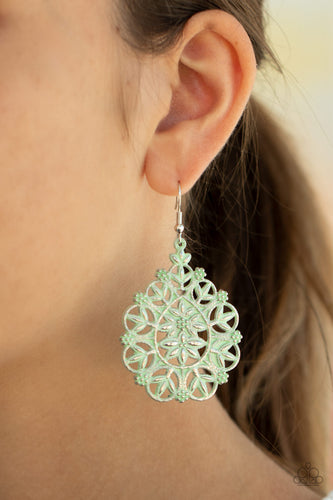 Floral Affair - Green Earrings - SavvyChicksJewelry