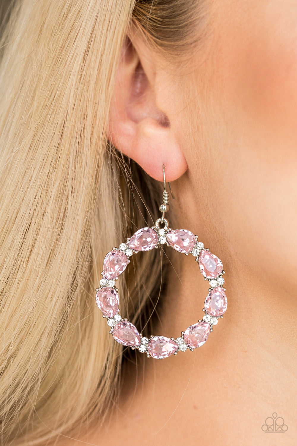 Ring Around the Rhinestones - Pink Earrings - SavvyChicksJewelry