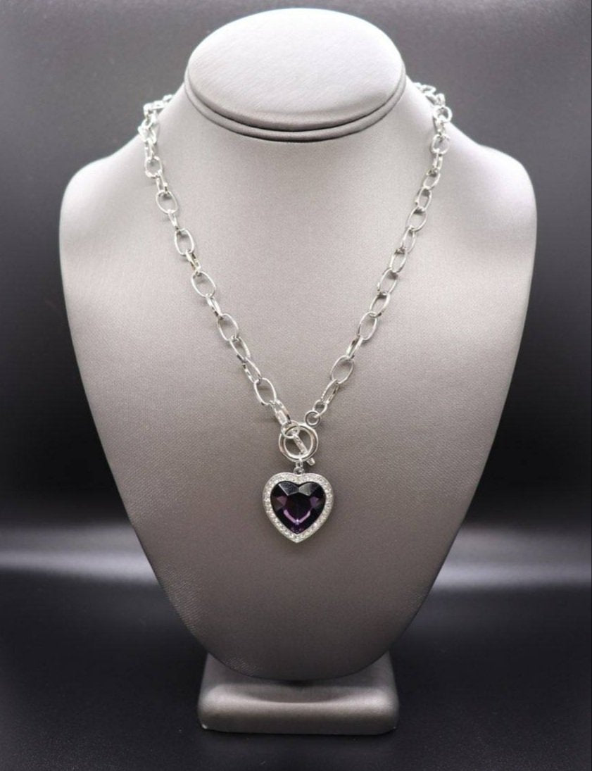 Check Your Heart Rate - Purple Necklace - SavvyChicksJewelry