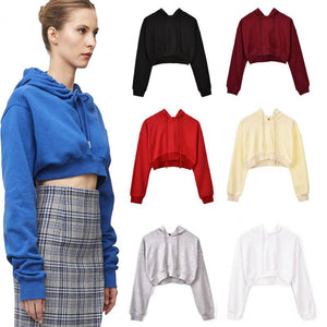 Kei's Crop Top Sweatshirt Long Sleeve Pullover Hoodie