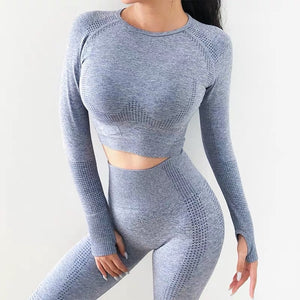 kei's Yoga Gym Long Sleeve Fitness Crop Top and Leggings set