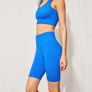 Kei's Seamless Button Top High Elastic Sports Bra and Short Sets High Elastic