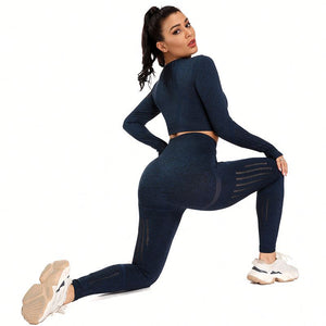 Kei's Long Sleeve Crop Top Gym Yoga Leggings set