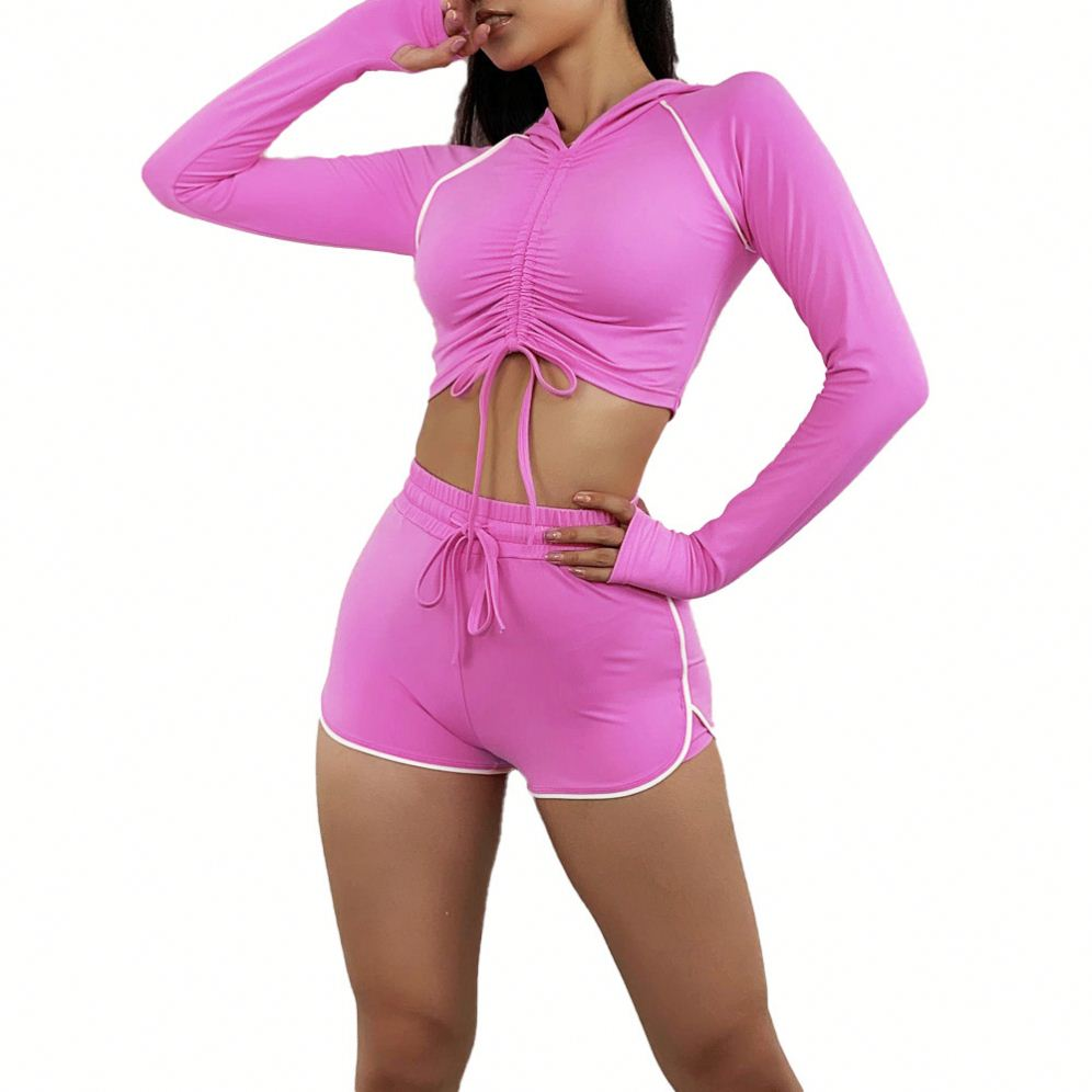 Kei's Seamless Long Sleeve Sports Shirt and Short yoga gym Sets