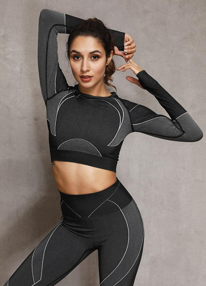 Kei's Yoga Set Long Sleeve Top Leggings