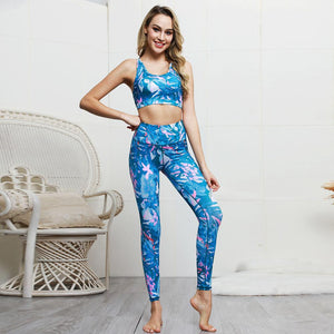Kei's Custom Print Yoga Running Bra and Leggings Set