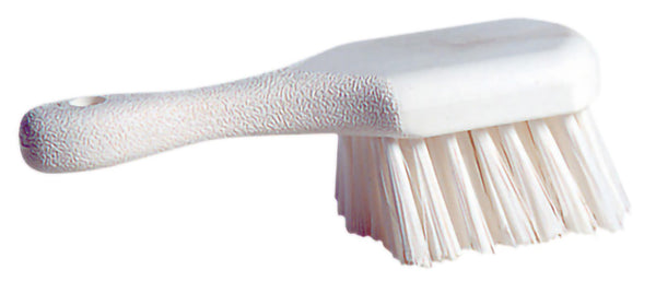 "9"" SHORT HANDLE POT BRUSH, STIFF WHITE POLY BRISTLE (12/case) - G7554"