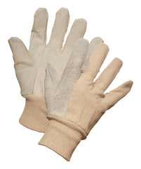8 oz COTTON GLOVE w/LEATHER PALM & KNIT WRIST, 12pairs/package