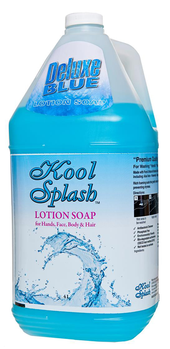 KOOL SPLASH DELUXE BLUE LOTION HAND, HAIR & BODY SOAP - 4L (4/case) - A8215