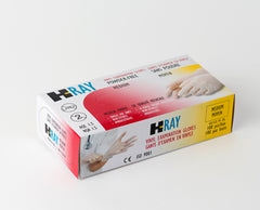 H-RAY 5mil PF VINYL EXAM GLOVES, LARGE - 100/box (10 boxes/case)
