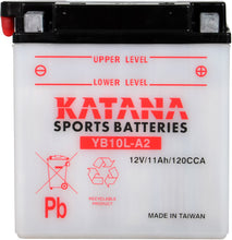 Load image into Gallery viewer, YB10L-A2 Katana Motorcycle Battery 160CCA 11AH