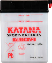 Load image into Gallery viewer, YB14A-A2 Katana Motorcycle Battery 175CCA 14AH