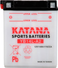 Load image into Gallery viewer, YB14L-A2 Katana Motorcycle Battery 175CCA 14AH