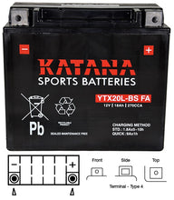 Load image into Gallery viewer, YTX20L-BS Katana Motorcycle Battery 270CCA 18AH
