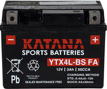 Load image into Gallery viewer, YTX4L-BS FA Katana Motorcycle Battery 50CCA 3AH