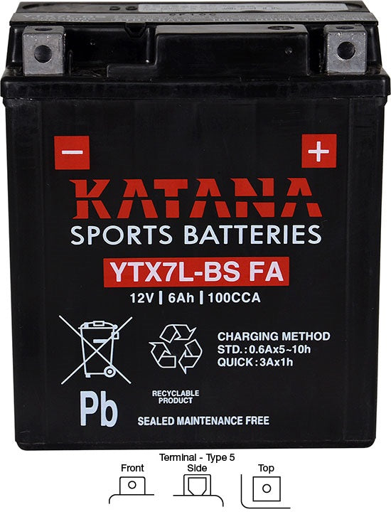 YTX7L-BS FA Katana Motorcycle Battery 100CCA 6AH