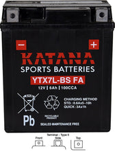 Load image into Gallery viewer, YTX7L-BS FA Katana Motorcycle Battery 100CCA 6AH