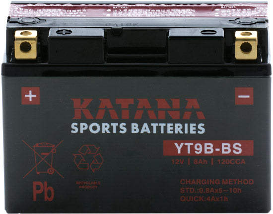 YT9B-BS Katana Motorcycle Battery 120CCA 8AH