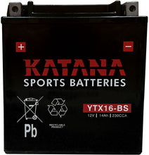 Load image into Gallery viewer, YTX16-BS Katana Motorcycle Battery 230CCA 14AH