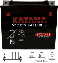 Load image into Gallery viewer, YTX20-BS Katana Motorcycle Battery 270CCA 18AH