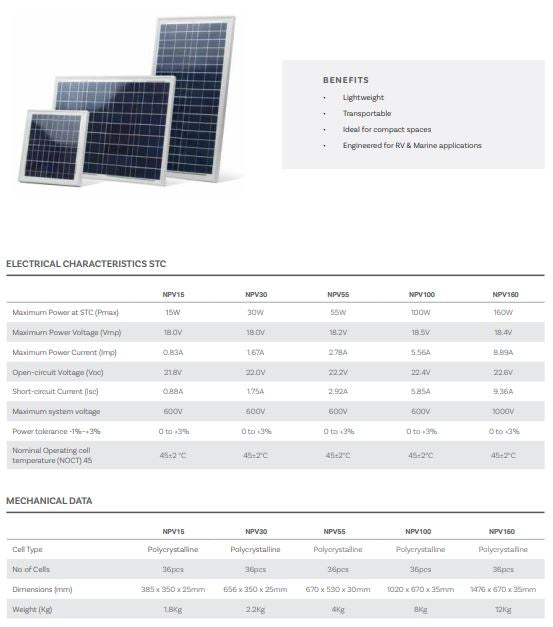 Neuton Power 12V 55W Polycrystalline PV Module