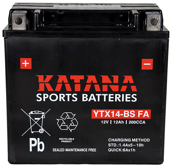 YTX14-BS FA Katana Motorcycle Battery 200CCA 10AH