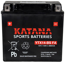 Load image into Gallery viewer, YTX14-BS FA Katana Motorcycle Battery 200CCA 10AH